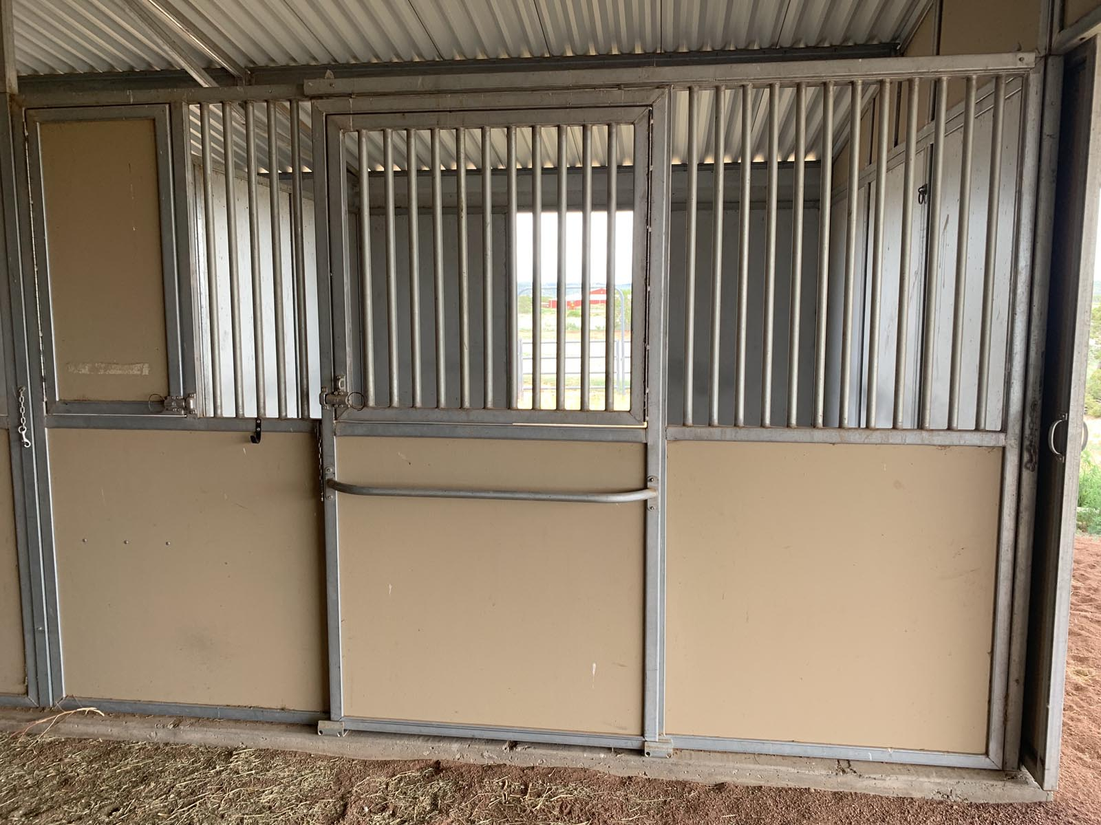 Stall at Tiger Owl Ranch horse boarding facility in Santa Fe, New Mexico